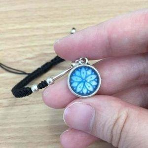 Blue Design Glass Cabochon Charm Braided Bracelet